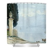 A Blue Day On Como Shower Curtain