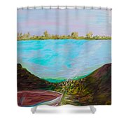 A Boat And A Seamless Sky Shower Curtain