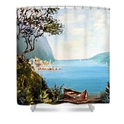 A Boat On The Beach Shower Curtain by Lee Piper