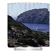 A Boat Sailing In The Valley Shower Curtain