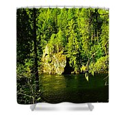 A Boulder Across The Seleway River  Shower Curtain