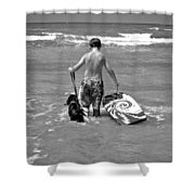 A Boy And His Dog Go Surfing Shower Curtain