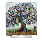 A Boy His Dog And Rainbow Tree Dreams Shower Curtain