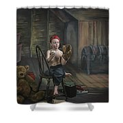 A Boy In The Attic With Old Relics Shower Curtain