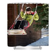 A Boy Plays Outside In Lake Tahoe Shower Curtain