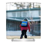 A Boy Rides His Skateboard In Lake Shower Curtain
