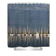 A Break In The Clouds - White Yachts Gray Sky Shower Curtain