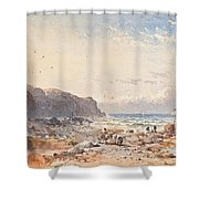A Breezy Day With Fisherfolk On The Foreshore Shower Curtain