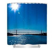 a Bridge with Flare Shower Curtain