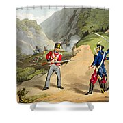 A British Soldier Taking Two French Shower Curtain