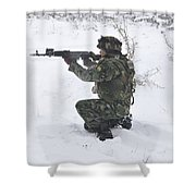 A Bulgarian Soldier Aims Down The Sight Shower Curtain