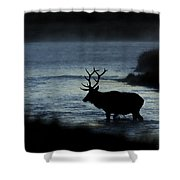 A Bull Elk Crosses The Madison In The Early Morning  Shower Curtain