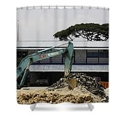 A Bulldozer Moving Dug Out Concrete And Fresh Earth Below The Concrete Shower Curtain