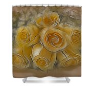 A Bunch Of Yellow Roses Shower Curtain by Susan Candelario