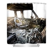 A Burned Out Truck At Sunset Shower Curtain