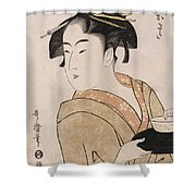 A Bust Portrait Of The Waitress Okita Of The Naniwaya Teahouse Shower Curtain