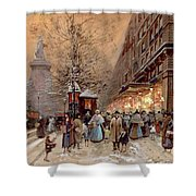 A Busy Boulevard Near The Place De La Republique Paris Shower Curtain