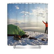 A Camper Lifts His Hand In The Air Shower Curtain