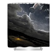 A Campfire In A Peaceful Night Shower Curtain