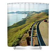 A Car Descends Conzelman Road Shower Curtain