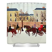 A Carriage Escorted By Police Shower Curtain
