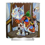 A Cat For Picasso_ Chat Et Souris Shower Curtain