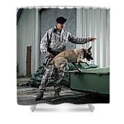 A Caucasian, Male Air Force Security Shower Curtain