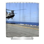 A Ch-47 Chinook Helicopter Landing Shower Curtain