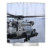 A Ch-53e Super Stallion Conducts Flight Shower Curtain