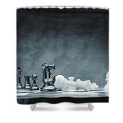 A Chess Game Shower Curtain by Don Hammond