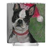 A Christmas Terrier Shower Curtain