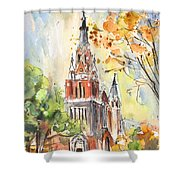 A Church In Our Street In Budapest Shower Curtain