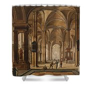 A Church Interior With Elegant People Shower Curtain