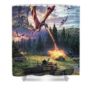 A Clash Of Worlds Shower Curtain
