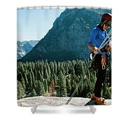 A Climber At The Top Of Pitch 3 On Swan Shower Curtain