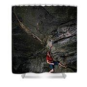 A Climber On A Rock Face Shower Curtain