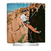 A Climber On Panty Wall In Red Rock Shower Curtain