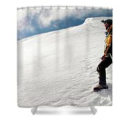 A Climber On The Glacier Of Cotopaxi Shower Curtain