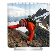 A Climber Scrambles Up A Rocky Mountain Shower Curtain