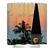 A Clock Tower At Sunset On Maui, Hawaii Shower Curtain