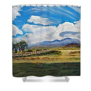 A Cloudy Day On Antelope Island Shower Curtain