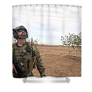 A Coalition Force Member Looks For Air Shower Curtain