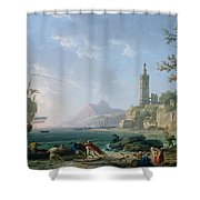 A Coastal Mediterranean Landscape Shower Curtain
