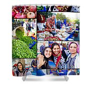 A Collage Of The Fresh Market In Kusadasi Turkey Shower Curtain