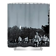 A Combat Patrol Heads For The Woods Shower Curtain