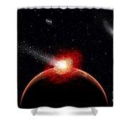 A Comet Hitting An Alien Planet Shower Curtain