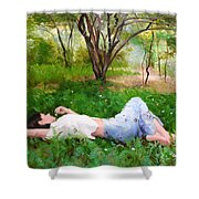 A Comfortable Patch Shower Curtain
