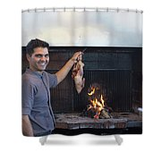 A Cook Hangs A Turkey Over Fire Pit Shower Curtain