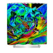 A Cosmic Dragonfly On A Psychedelic Rose Shower Curtain