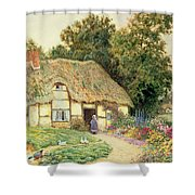 A Cottage By A Duck Pond Shower Curtain